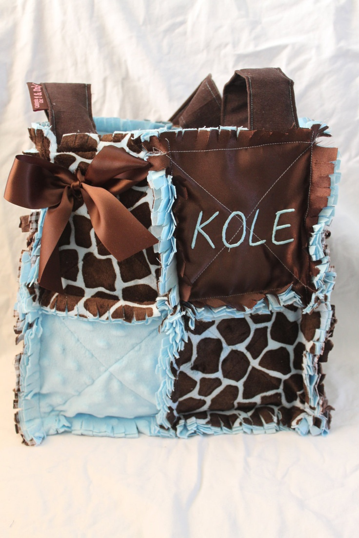Small Diaper Bag Giraffe and Baby Blue.
