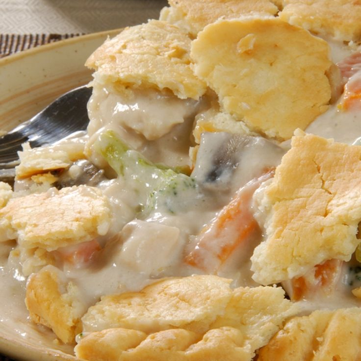 This homemade chicken pot pie is made from scratch and fits  a 9 by 13 inch baking dish. A meal that serves 4-6 depending on portion sizes.