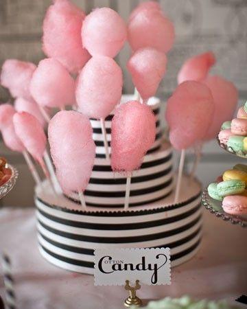 mini cotton candy..love the stripe display: Paper Garlands, Candies Display, Deserts Bar, Cotton Candy, Candies Cake, Desserts Bar, Cotton Candies, Candies Bar, Food Bar