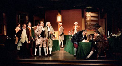 """""""And for the support of this Declaration, with a firm reliance on the protection of divine Providence, we mutually pledge to each other our Lives, our Fortunes and our sacred Honor.""""  Photo by Jason Ganwich from the 2006 Tacoma Little Theatre production of """"1776"""""""