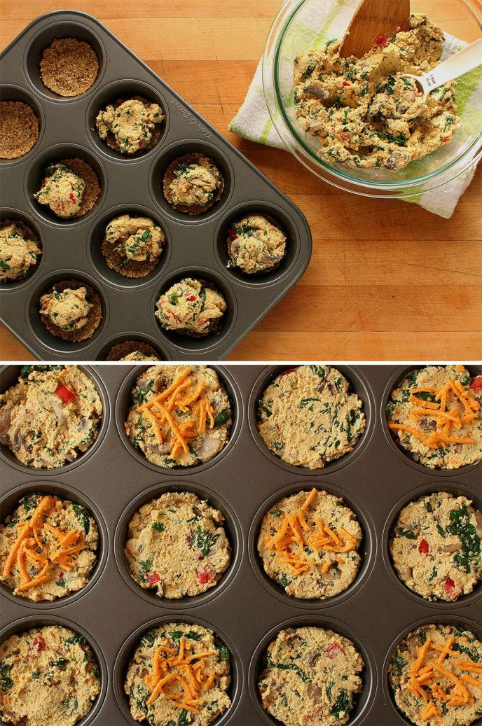 Vegan Spinach & Mushroom Mini Quiches | Step-by-step recipe for vegan, gluten free, and nut free (optional) quiches. This a nutritious all-in-one meal that can be served any time of day! | ilovevegan.com