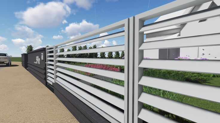 simple front garden and designed modern fence | VerreJardin