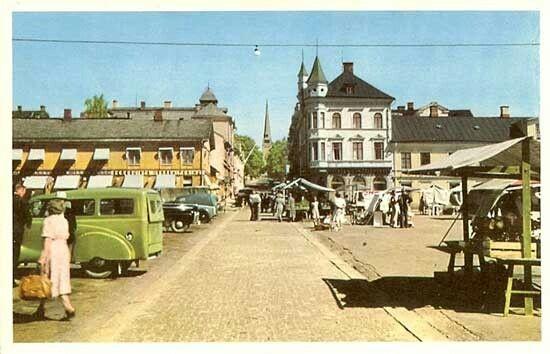 Värmland Arvika Torget 1950-tal  Utg Arvika Pappers- & Konsthandel.