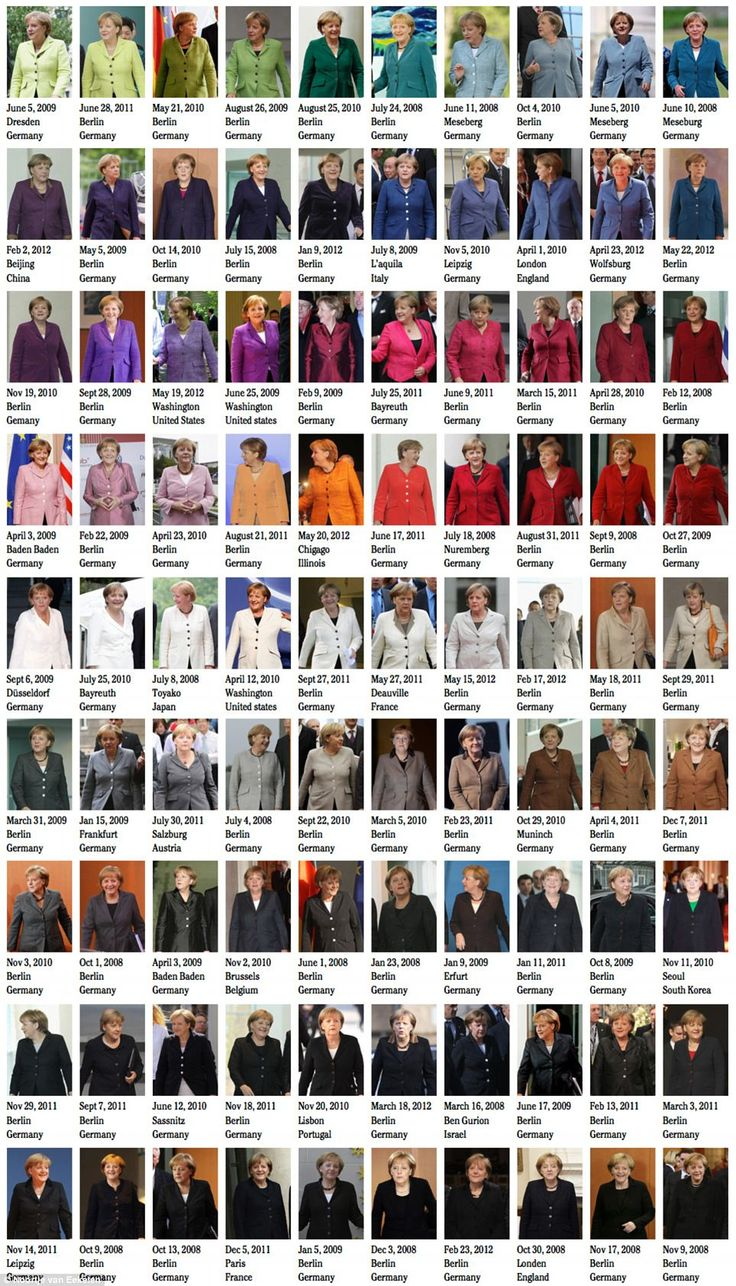 A different sort of color wheel- 50 Shades Of Angela Merkel: The German Chancellor has worn every color in the rainbow during her term. She is a Pantone chart. This impressive collection was compiled by graphic designer Noortje van Eekelen, as part of her Spectacle of the Tragedy project