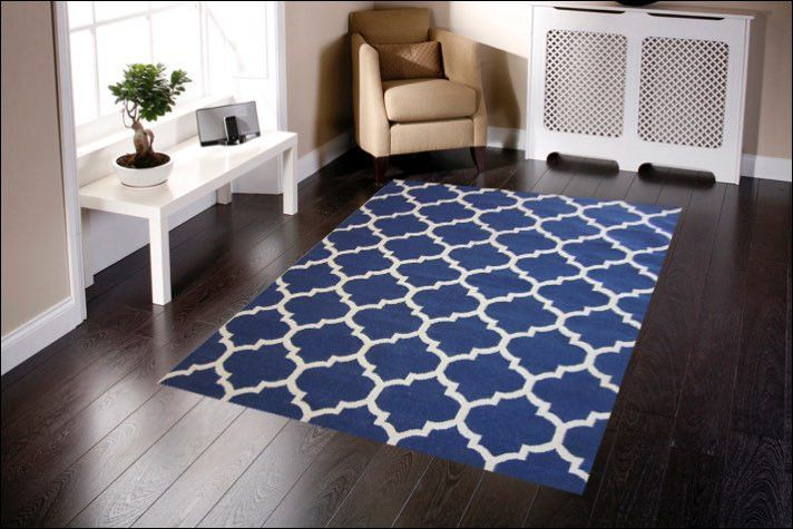 The Navy Handwoven Woollen Durrie Rug is a stunning trellis style wool area rug. View here: https://www.rugsofbeauty.com.au/collections/winterton/products/handwoven-woollen-durrie-rug-sweden-468-navy