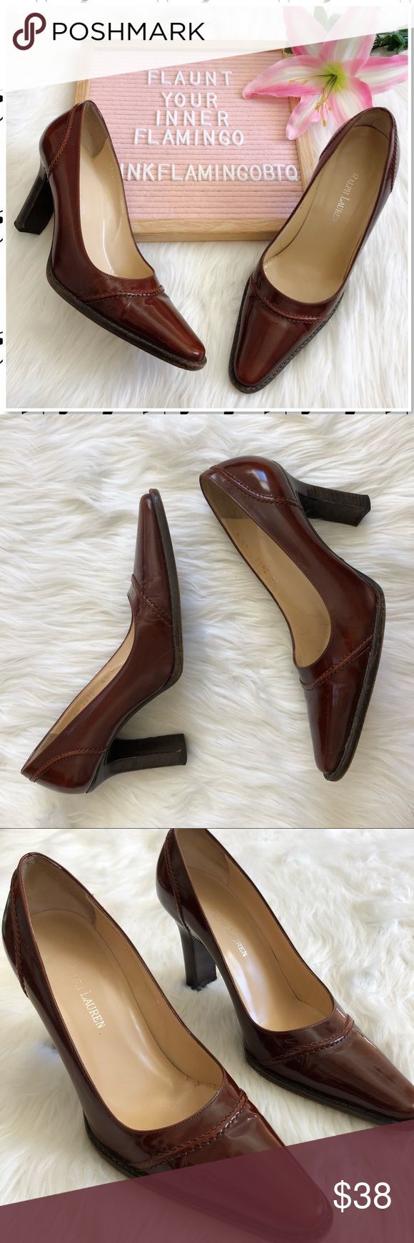Ralph Lauren Leather Chunky Heel Maroon Pump 6.5 Ralph Lauren Leather Chunky Heel Maroon Pump. A dark brownish maroon leather heel from Ralph Lauren. Pointed toe, chunky heel and braided leather stitch design across the vamp and heel. Gorgeous! Gently used condition. Only notable flaw is slight mark on inside back heel. Photos are best descriptors. Ralph Lauren Shoes Heels