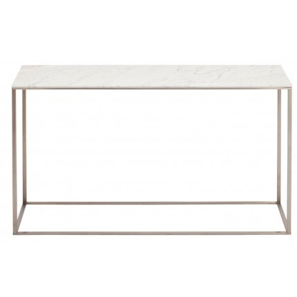 $549 White marble top - 56 inches long. Would be great for a minimalist entry way with a bright neon accent on top.