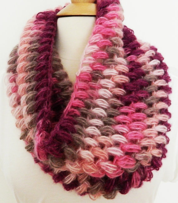 Purple Pink and Camel Soft Angora Crochet Handmade Pompom Puff stitch Cowl