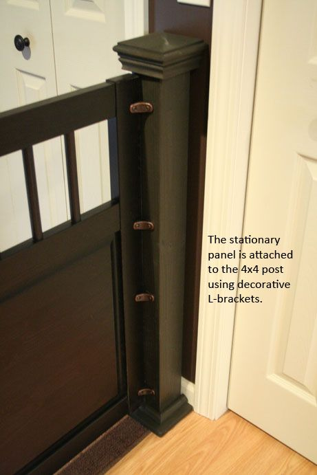 """If you fail at teaching your dogs good door manners, at least know how to built a good gate! I got a hold of the headboard and footboard pieces from a Hemnes daybed from the """"as is"""" section of Ikea. I put them to great use with this dog gate. The span of my entryway [&hellip"""