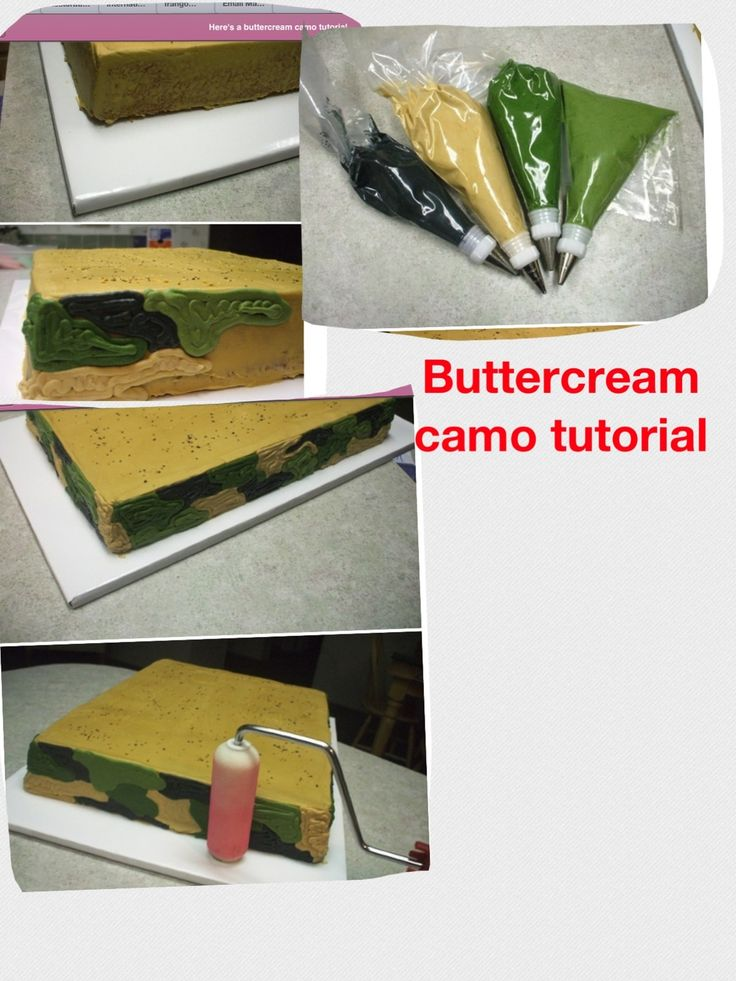 Camo cake tutorial - could use for other patterns/decoration too, to flatten and/or make look like fondant