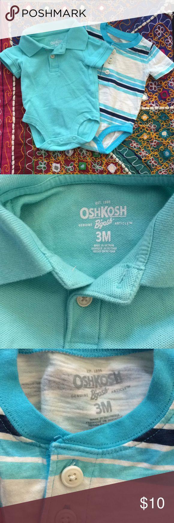 Bundle of 2 Oshkosh B'Gosh onesies 3M blue stripe 2 Oshkosh B'Gosh brand onesies. Short sleeve. One Tiffany blue polo collar shirt with 3 neck bottoms and 3 bottom snaps. Bodysuits One tiffany blue turquoise and navy stripes Henley. Bundle wit other items in my closet to save 20% OshKosh B'gosh Shirts & Tops Polos