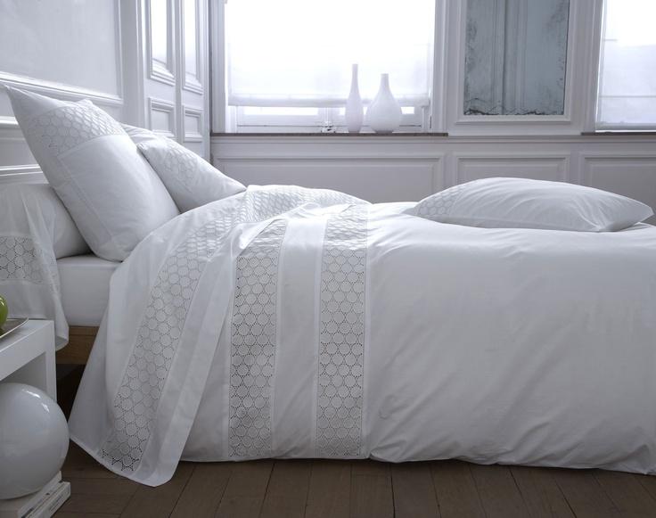 linge de lit percale brodée - blanc | becquet