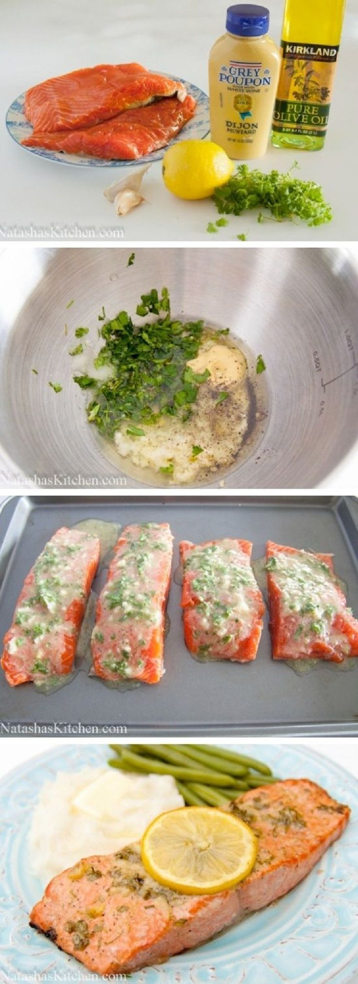 Great Salmon marinade; Olive Oil, Dijon Mustard, Crushed Garlic, Juice of a lemon, dill basil or your favorite pairing with Salmon, Marinade for min of 1 hour - then grill or bake! Yumm