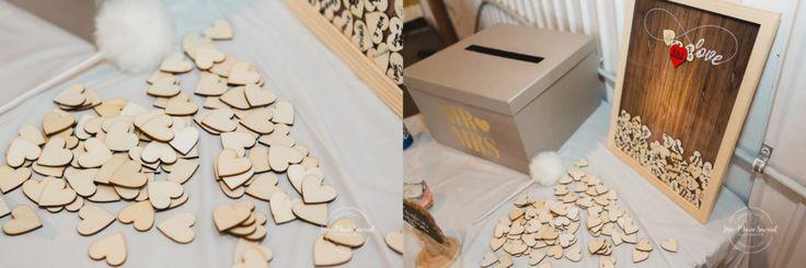 Wedding reception decor detail frame write your name wood hearts. Mariage champêtre extérieur rustique chic DIY hôtel Georgesville Saint-Georges de Beauce |Lisa-Marie Savard Photographie |Montréal, Québec |www.lisamariesavard.com