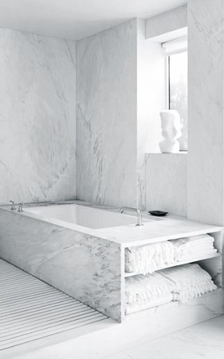 Don't overlook your bath! Even the space behind and underneath can be utilised for storage
