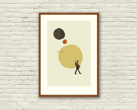 DE rijk ABSTRACT - Star Wars geïnspireerde, Boba Fett Art Print Movie Poster serie - minimalistische, moderne Design midden van de eeuw  Dit is een mooie serie van drie 12 x 18 art prints, afgedrukt op dikke ongecoate Frans papier bedrijf bouw Whitewash 100 lb boekbandpapier. Tekens die we liefde samengesteld met abstracte vormen van het midden van de eeuw. Een must have voor alle Star Wars fans en grafisch ontwerp nerds! Ideaal voor elke ruimte - vanuit het kantoor naar de crèche.  Dit is…