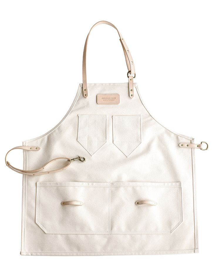 Natural Canvas and Leather Apron, perfect for painting, cooking, making | Andover Trask