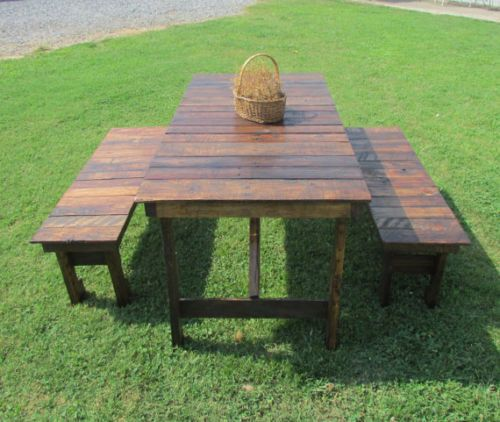 Details about Rustic Dining Table & 2-Bench Set, Reclaimed Wood, Kitchen  Table, Picnic Table