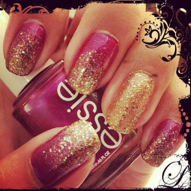 : Gold Glitter, Magenta And Gold Ombre Nails, Gold Nails, Nails Design, Glitter Nails, Sparkle Nails, Gold Sparkle, Pink And Gold, Holidays Nails