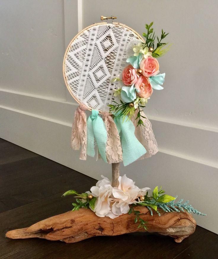 Dream Catcher Driftwood centerpiece, Boho baby, wedding decor, baby shower, home decor, wild one, tribal baby, Coachella, by Rusticredoo on Etsy https://www.etsy.com/listing/529152517/dream-catcher-driftwood-centerpiece-boho
