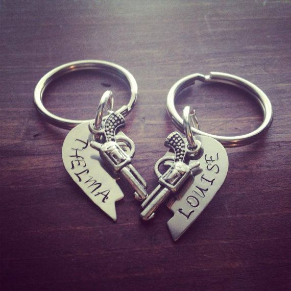 Silver Broken Hearts Stamped Thelma and Louise Key Chains on Etsy, $24.00