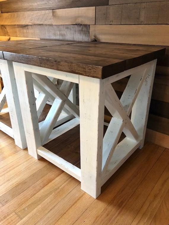 Farmhouse Style End Table Table De Ferme Petite Table Basse