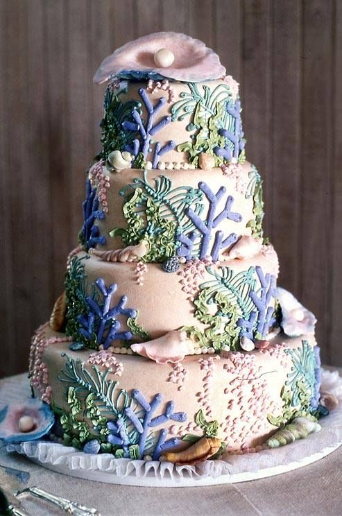 Amazing Ocean C Themed Wedding Cake Perfect For A Beach Theme
