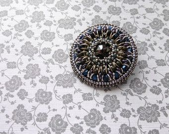 Silver and purple round brooch Swarowski crystal lapel pin Beadwork jacket pin Statement bead embroidery brooch Seed bead jewelry