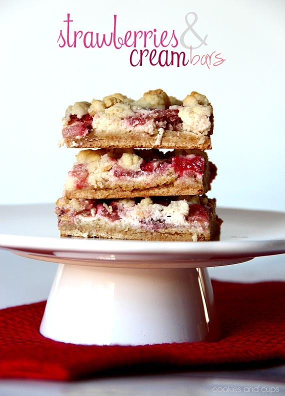 Strawberries and Cream Bars.  Yummy bars that start with a cake mix!