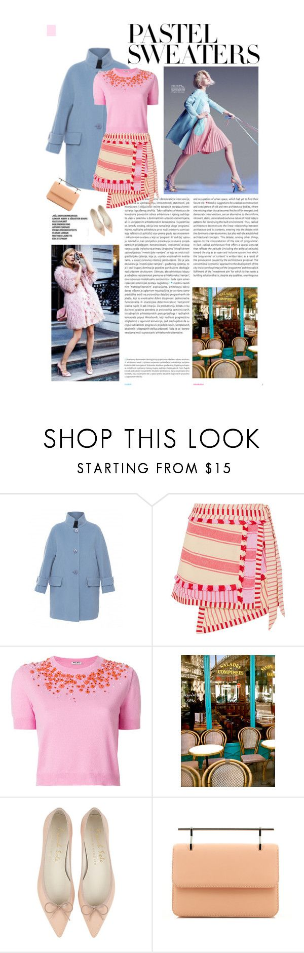 """""""Tuesday Afternoon in Pastel"""" by mgoslin ❤ liked on Polyvore featuring Oris, Les Copains, Dodo Bar Or, Miu Miu, WALL and M2Malletier"""