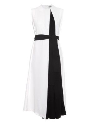 Bi-colour belted crepe dress | Balenciaga | MATCHESFASHION.COM