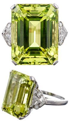 Raymond Yard Fine Chrysoberyl and Diamond Platinum Ring