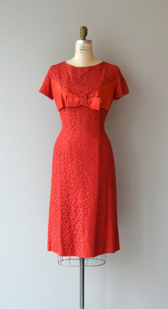 Vintage 1950s, true red lace cocktail dress with short sleeves, wide bow bodice detail, princess seams and metal back zipper. --- M E A S U R E M E N