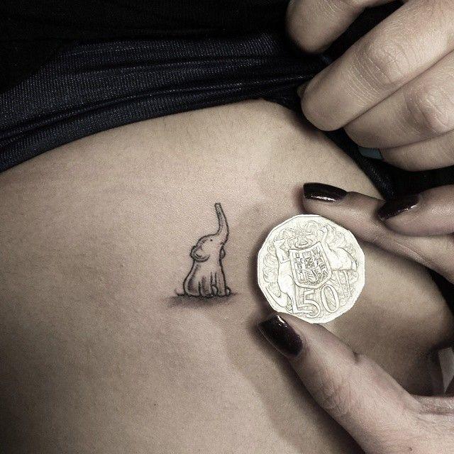 Baby elephant tiny tattoo