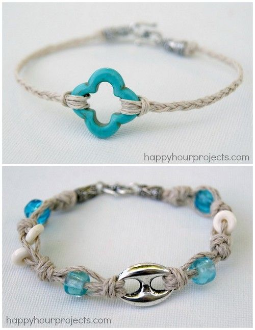 DIY Beginner Braided and Knotted Bracelet Tutorials from Happy Hour Projects. Both bracelets use hemp which is really cheap at the craft store. For more friendship bracelets of all types go here. Top Photo: Braided 10 Minute Hemp Bracelet Tutorial here. Bottom Photo: Knotted Hemp and Bead Bracelet Tutorial here. ☀CQ