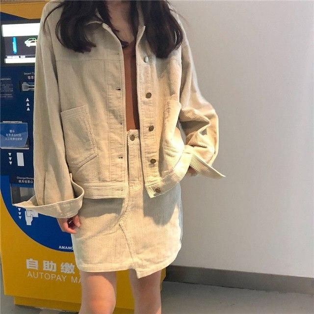 Women's Corduroy Suit Casual Autumn New Outfits Short Coat Tops With High Waist Skirt For Women Two Pieces Female Set apricot On 2