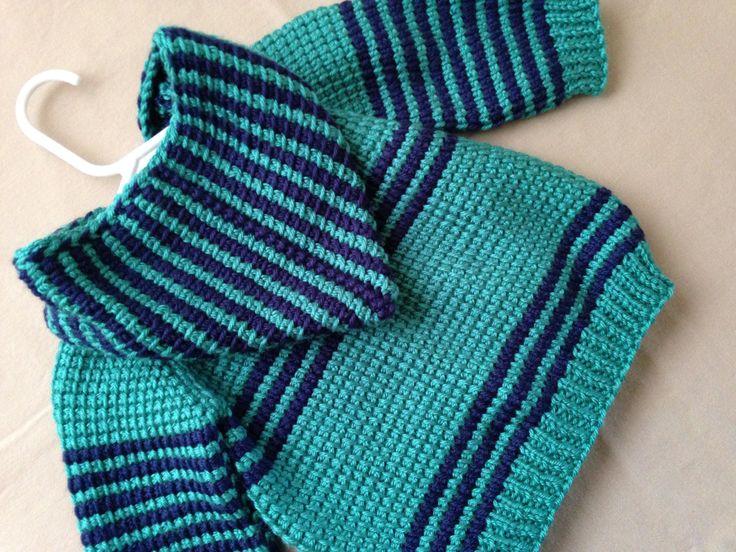 Вязание крючком Baby Boy Свитер с капюшоном темно-синий по ForBabyCreations