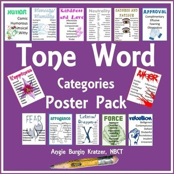 """Provide students with an instant go-to list of tone words with this set of thirteen categorized posters. Each 8.5""""x11"""" poster features a font and image that contribute to the tone of the resource itself. Students can glance up while writing and find the perfect word for that poem or non-fiction piece they are analyzing.Download this FREE categorized tone list for a binder-sized student reference page.Check out this tone word study to solidify the words on the posters."""