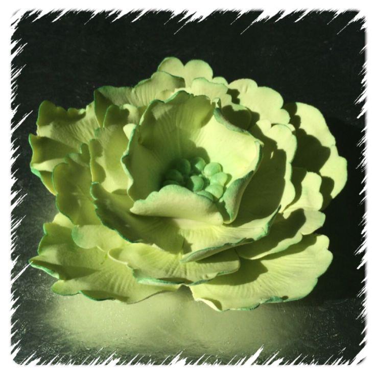 Pion laget av marsipan, se www.kakebua.net for fremgangsmåte ❤️ #peony #flower #marzipan #cakedecoration