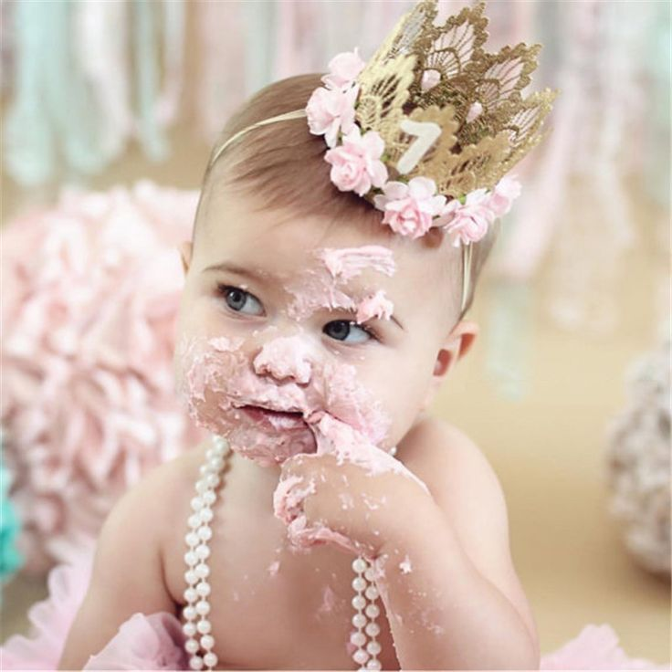 1Pcs Baby 1st Birthday Crown Floral Headband Flower Lace Tiara Headband Baby shower Girls Party Hiar Band Photo Booth supplies
