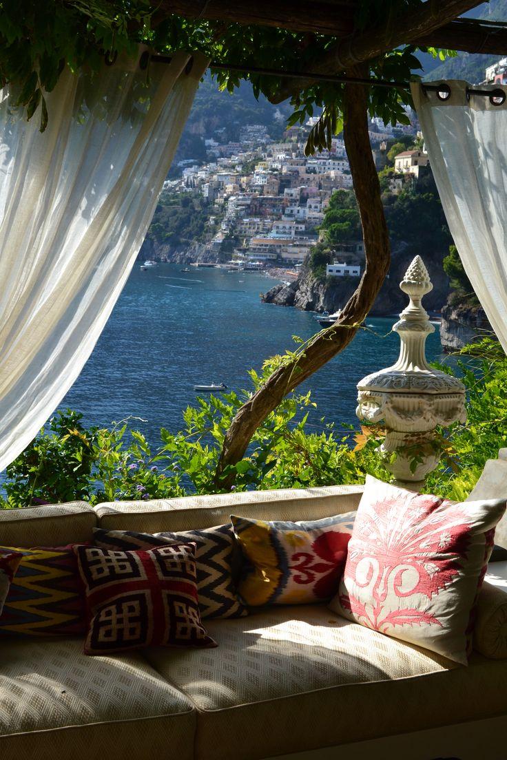 view + nook + textiles, Villa Tre Ville hotel, Positano, Italy