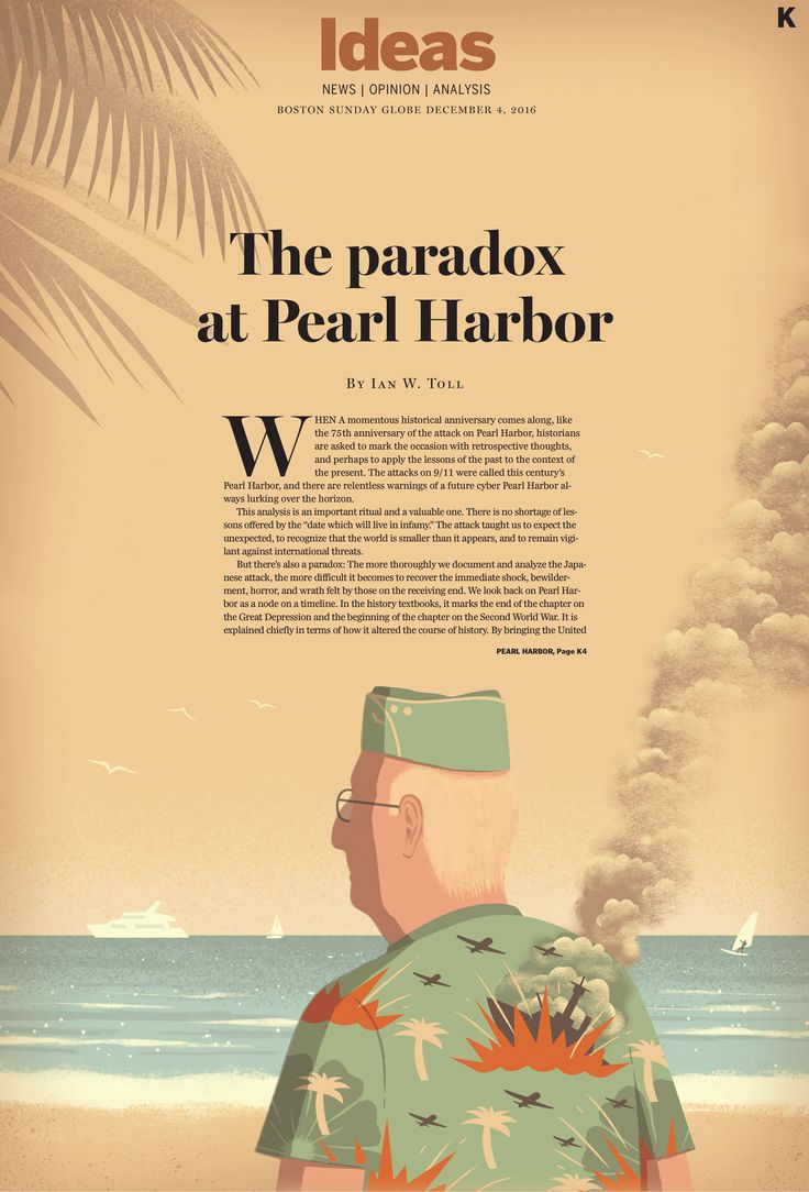 Davide Bonazzi - The memory of Pearl Harbor. Client: The Boston Globe. #conceptual #editorial #illustration #USA #pearlharbor #ww2 #war #history #memory #veterans #davidebonazzi