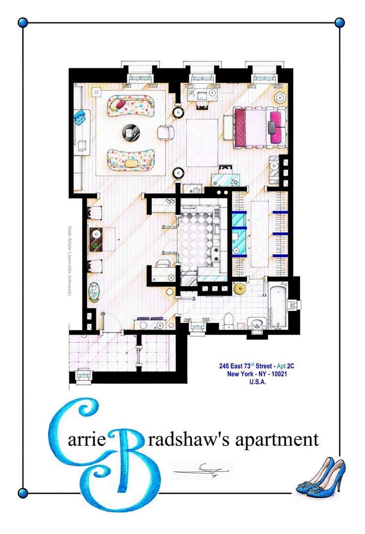 """Carrie Bradshaw Apartment (Movie Version) POSTER This is a house-plan based in the apartment of Carrie Bradshaw after the makeover made for the """"Sex & the City"""" movies. It's an original hand drawed plan, in scale, coloured with colour pens and with.."""