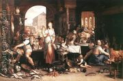 Kitchen Scene 1605  by Joachim Wtewael (Uytewael)