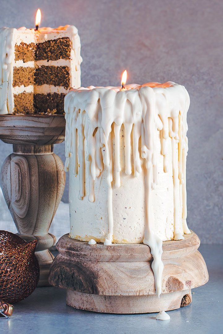 """Dripping white chocolate """"candle"""" cakes with eggnog sponge and nutmeg-rum bu…"""