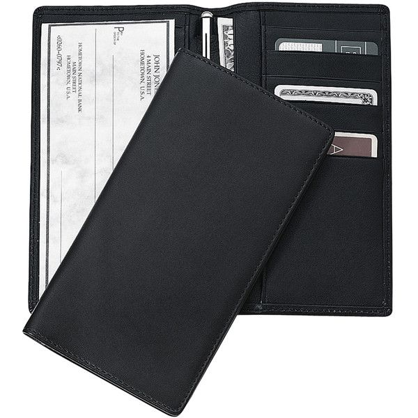 Royce Leather Leather Checkbook Holder Wallet - Black ($29) ❤ liked on Polyvore featuring men's fashion, men's bags, men's wallets, black, mens leather wallets, mens checkbook wallet and mens leather checkbook wallet