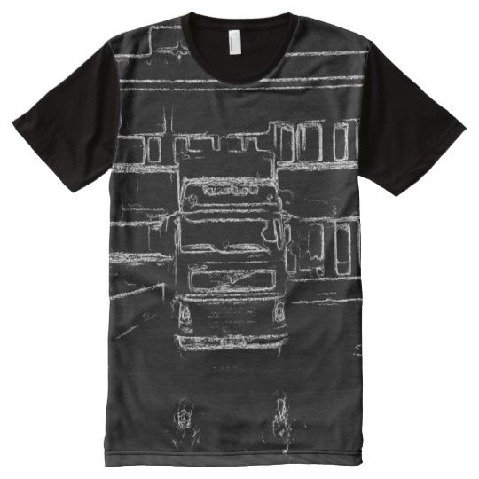 trailer and building drawing All-Over print T-Shirt A photo with black and white drawing effect of a trailer parked in front of a building.