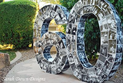 DIY - Happy Photo Number Birthday Display by Sarah Dawn Designs (lot of work, but neat idea)