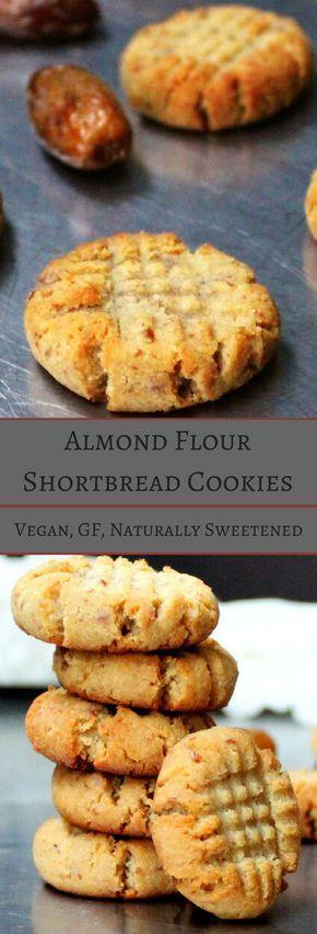 Vegan Almond Flour Shortbread Cookies, naturally sweetened and gluten-free