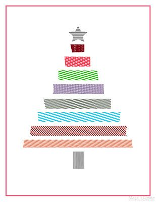 Washi Christmas Tree Printable - OR you could do it with real washi!!!